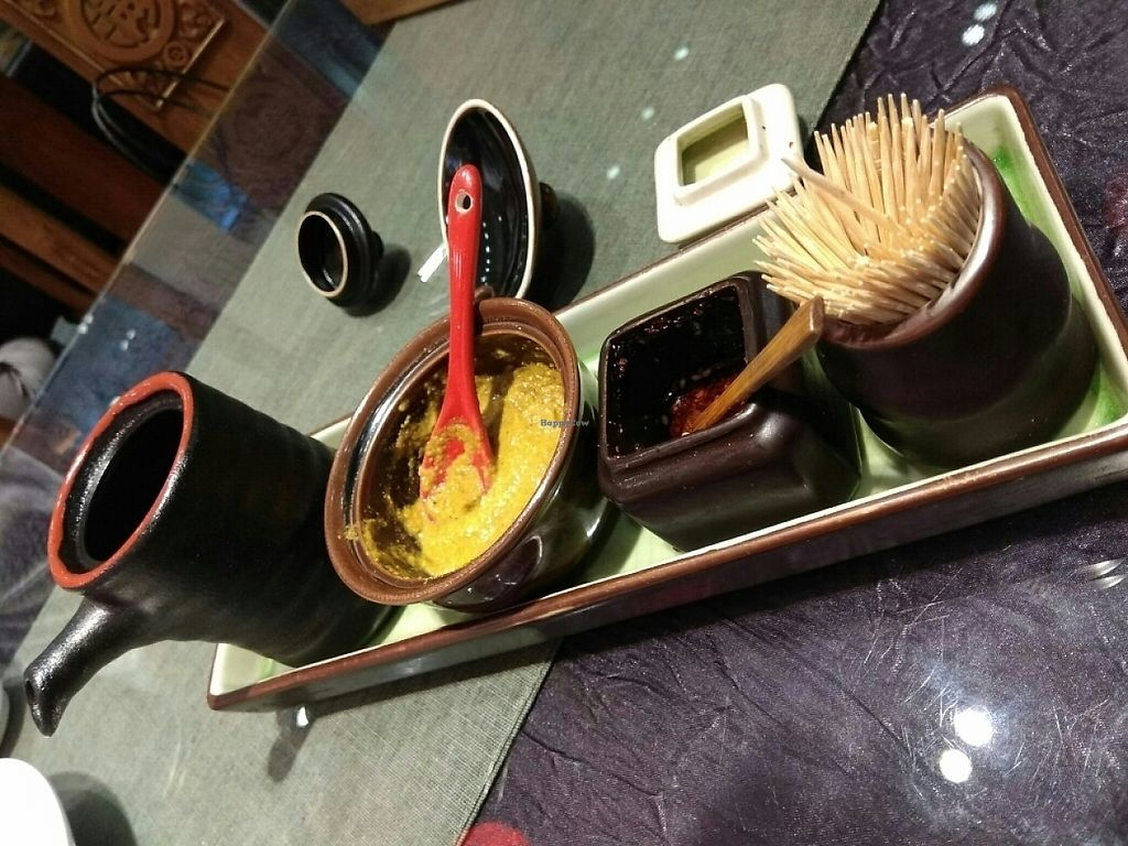 """Photo of Vegetarian Dumpling  by <a href=""""/members/profile/happyhappycoo"""">happyhappycoo</a> <br/>Condiments on every table <br/> June 6, 2017  - <a href='/contact/abuse/image/82268/266294'>Report</a>"""