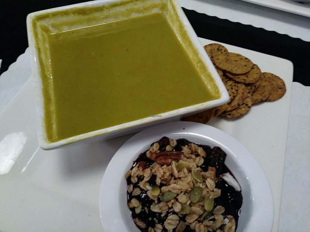 """Photo of Fuelrz  by <a href=""""/members/profile/Cpronovost"""">Cpronovost</a> <br/>Vegan broccoli soup with berry bake <br/> May 7, 2018  - <a href='/contact/abuse/image/82278/396664'>Report</a>"""