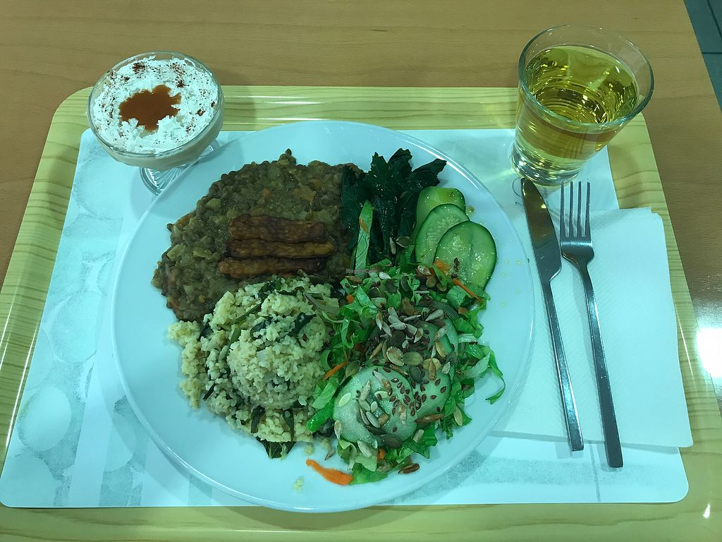 """Photo of Cozinha Consciente  by <a href=""""/members/profile/ERodTM"""">ERodTM</a> <br/>Burger, lentils, tempeh, greens with sunflower seeds, mint tea, and coconut mousse dessert <br/> September 11, 2017  - <a href='/contact/abuse/image/8228/303244'>Report</a>"""