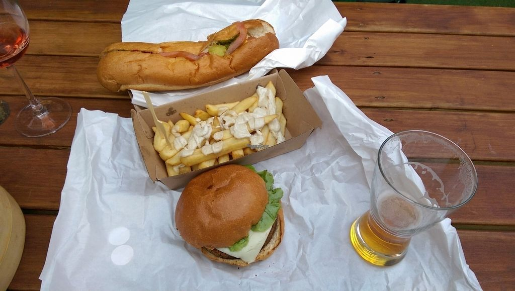 """Photo of Lord of the Fries - Britomart  by <a href=""""/members/profile/Vegangelist"""">Vegangelist</a> <br/>Bendy Chicago dog, sad fries and spicy burger (together with beer from next door bar) <br/> November 4, 2016  - <a href='/contact/abuse/image/82326/186594'>Report</a>"""