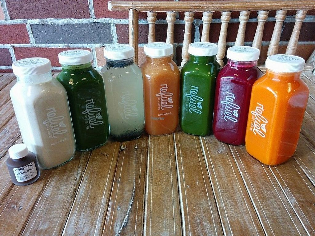 """Photo of Refuel Juicery  by <a href=""""/members/profile/community"""">community</a> <br/>fresh juices  <br/> November 24, 2016  - <a href='/contact/abuse/image/82338/193830'>Report</a>"""