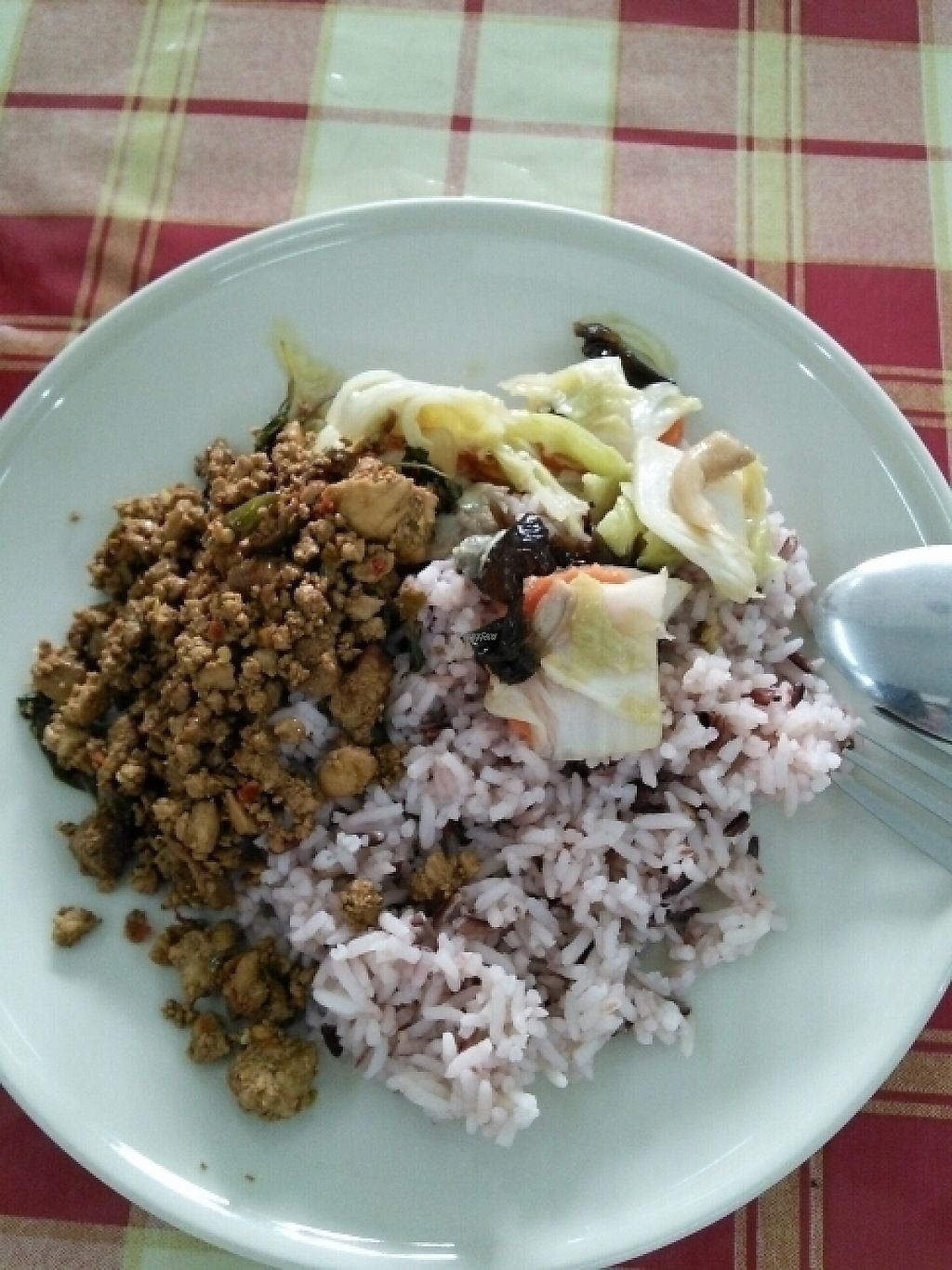 "Photo of Vegetarian Food  by <a href=""/members/profile/NomadVivien"">NomadVivien</a> <br/>2 toppings with brown rice 30 baht <br/> November 13, 2016  - <a href='/contact/abuse/image/82354/189301'>Report</a>"