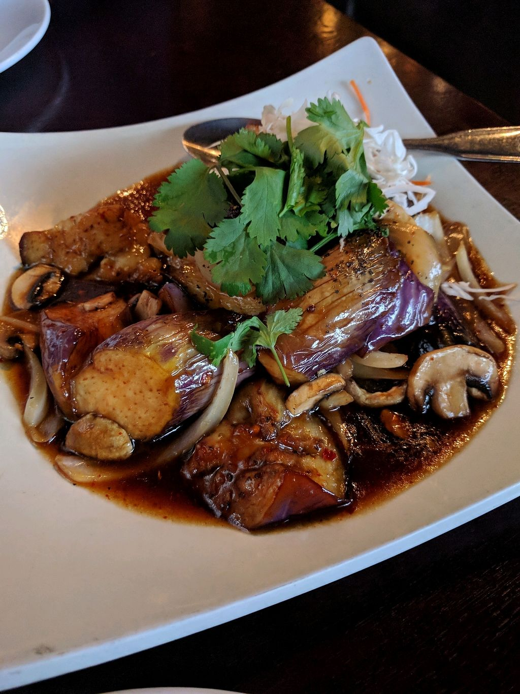 "Photo of Square Lotus  by <a href=""/members/profile/Chickadee"">Chickadee</a> <br/>veg eggplant and mushrooms in special sauce <br/> December 6, 2017  - <a href='/contact/abuse/image/8238/332814'>Report</a>"