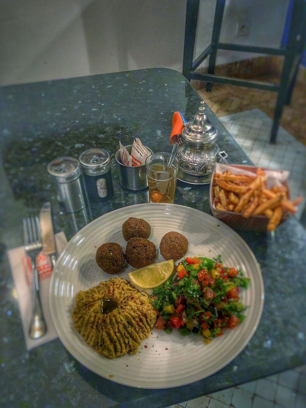 "Photo of Cafe Clock  by <a href=""/members/profile/partyprince"">partyprince</a> <br/>Delicious falafel, humous & salad with fries and herb tea <br/> January 23, 2018  - <a href='/contact/abuse/image/82427/350196'>Report</a>"