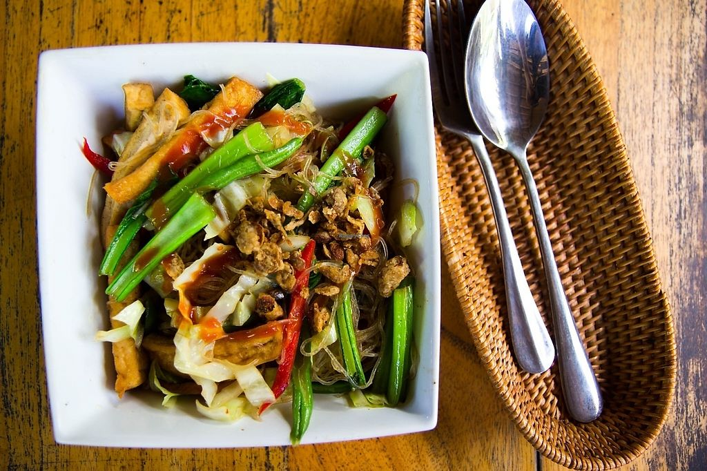 """Photo of Pisang-Pisang - maybe closed  by <a href=""""/members/profile/jeffrey_ca2003"""">jeffrey_ca2003</a> <br/>Sesame Stir-Fried Tofu with mustard green, cabbage, green bean, big red chilli, green onion, stir fried with clear corn noodles & teriyaki soy topped with fried onions.  Seriously, this was good <br/> May 26, 2017  - <a href='/contact/abuse/image/82438/262603'>Report</a>"""