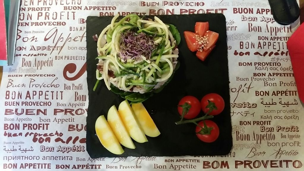 """Photo of Veggie's World  by <a href=""""/members/profile/stachelbeere"""">stachelbeere</a> <br/>rice with spiralised courgette, sprouts, apples, strawberries and tomatoes <br/> May 23, 2017  - <a href='/contact/abuse/image/82446/261787'>Report</a>"""