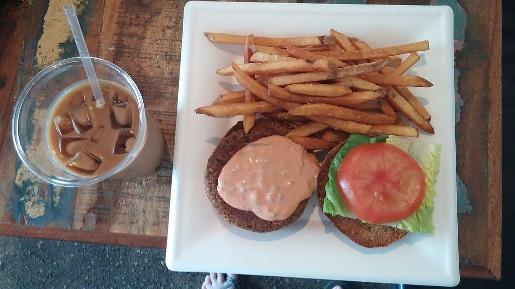 """Photo of Local's Cafe  by <a href=""""/members/profile/jujutsuka"""">jujutsuka</a> <br/>vegan burger & americano with soy <br/> June 25, 2017  - <a href='/contact/abuse/image/82449/273417'>Report</a>"""