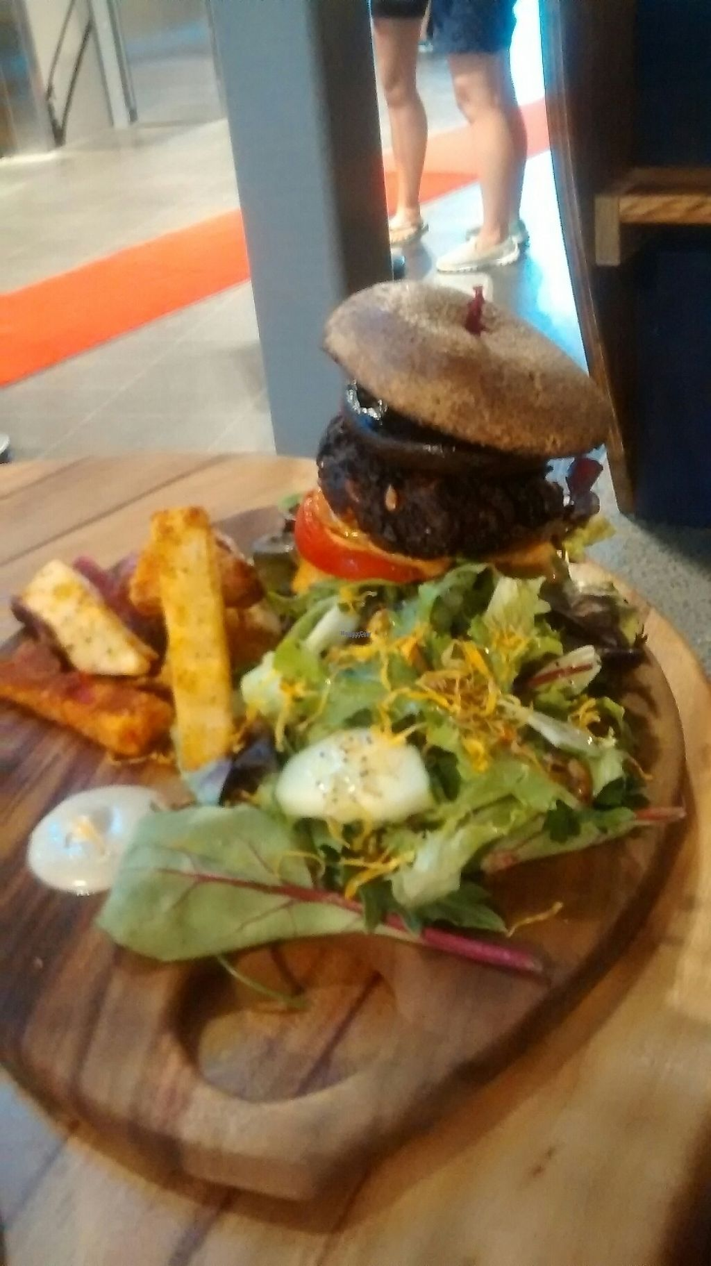 "Photo of Elixiba - Gold Coast  by <a href=""/members/profile/chalybeus"" class=""title__title"">chalybeus</a> <br/>burger with mushroom, vegan patty, served with beet sweet potato and potato chips salad <br/> February 11, 2017  - <a href='/contact/abuse/image/82474/225190'>Report</a>"