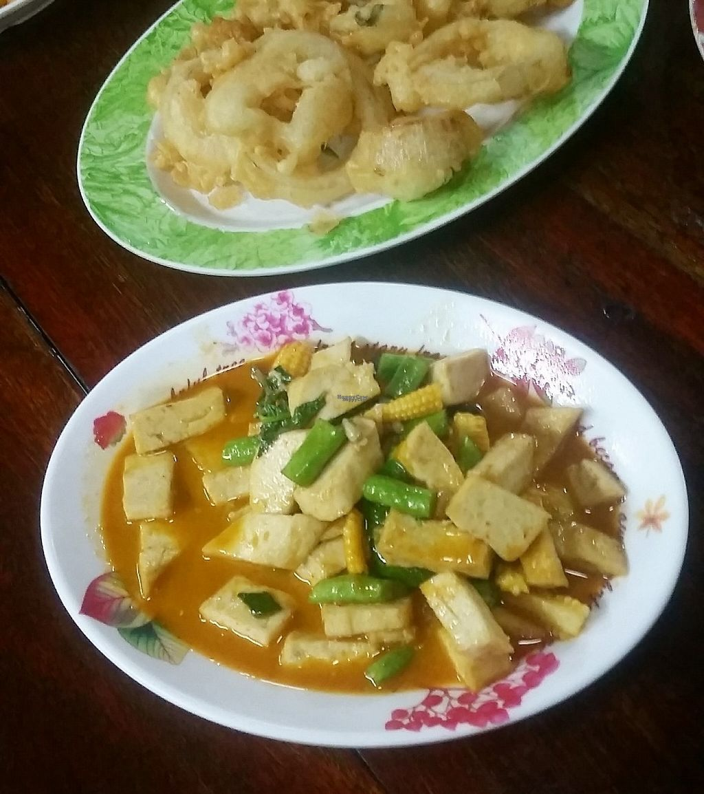 """Photo of Number 1 Vegetarian  by <a href=""""/members/profile/Without_Cruelty_Blog"""">Without_Cruelty_Blog</a> <br/>Tofu and veg with onion rings  <br/> January 14, 2017  - <a href='/contact/abuse/image/82483/211875'>Report</a>"""