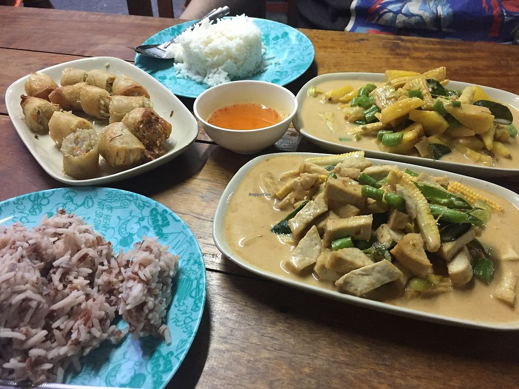 """Photo of Number 1 Vegetarian  by <a href=""""/members/profile/Umeko"""">Umeko</a> <br/>Pineapple Curry, Tofu Curry, rice and spring rolls <br/> November 22, 2017  - <a href='/contact/abuse/image/82483/328058'>Report</a>"""