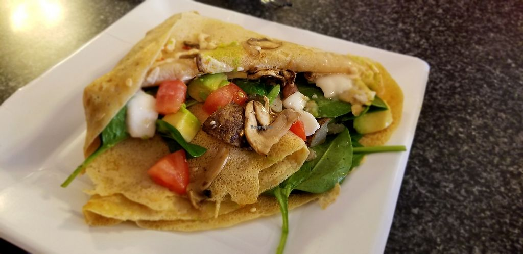 """Photo of For Crepes Sake  by <a href=""""/members/profile/courtpline"""">courtpline</a> <br/>crepe with avocado, potato, mushrooms, tomato, vegan cream cheese, and vegan pepperjack <br/> August 10, 2017  - <a href='/contact/abuse/image/82499/291262'>Report</a>"""