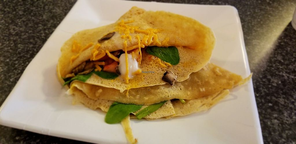 """Photo of For Crepes Sake  by <a href=""""/members/profile/courtpline"""">courtpline</a> <br/>crepe with vegan colby jack, vegan cream cheese, spinach, mushroom, and tomato <br/> August 10, 2017  - <a href='/contact/abuse/image/82499/291263'>Report</a>"""