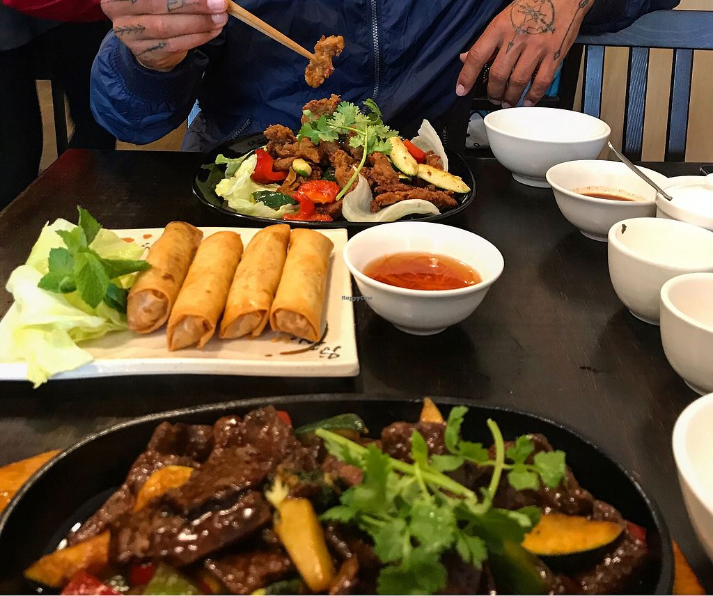 "Photo of Huong Viet  by <a href=""/members/profile/allyandlouis"">allyandlouis</a> <br/>Mongolian beef, spring rolls, salt & pepper chicken <br/> December 2, 2017  - <a href='/contact/abuse/image/82526/331357'>Report</a>"