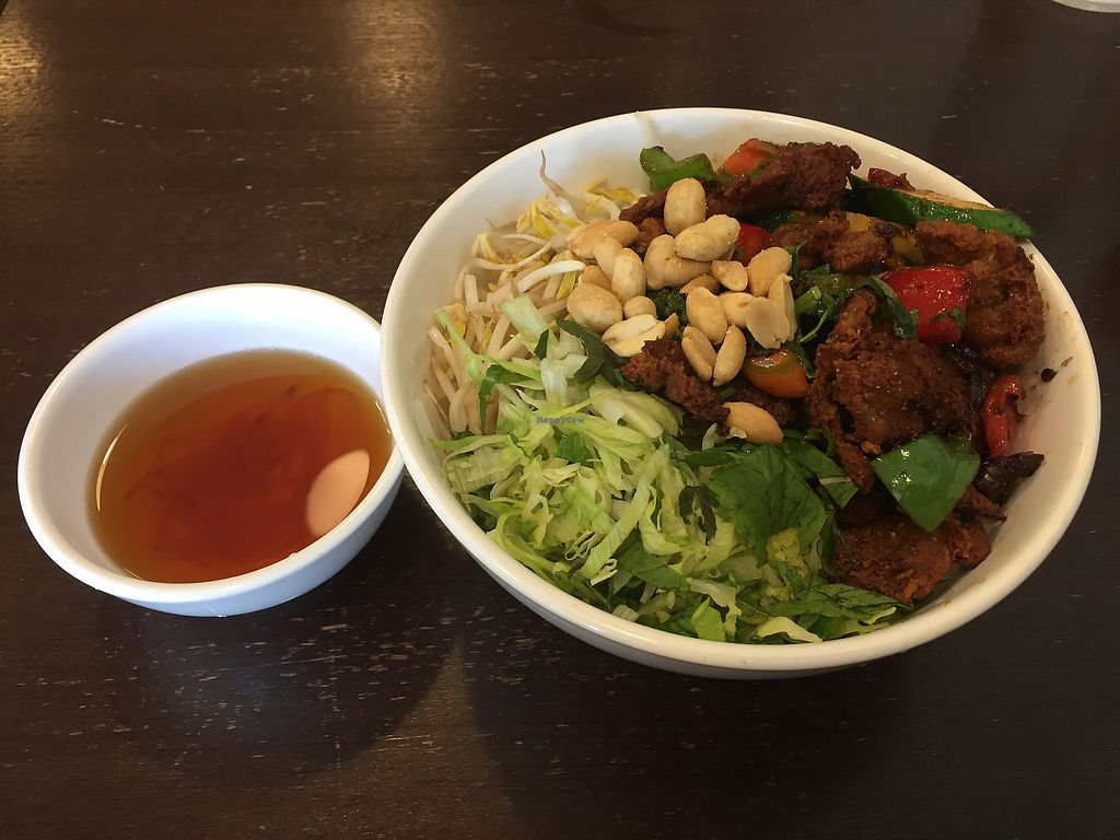 "Photo of Huong Viet  by <a href=""/members/profile/Wuji_Luiji"">Wuji_Luiji</a> <br/>Satay chicken salad with noodles (noodles underneath) <br/> December 16, 2017  - <a href='/contact/abuse/image/82526/336069'>Report</a>"