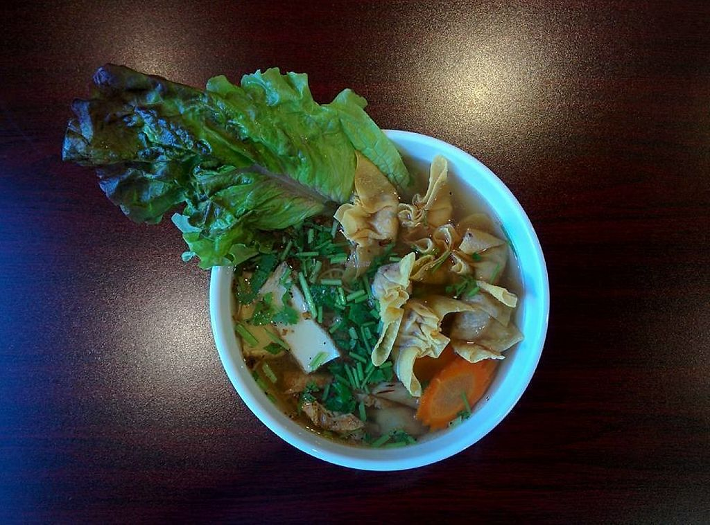 """Photo of Buddha Chay  by <a href=""""/members/profile/Buddhachaycanada"""">Buddhachaycanada</a> <br/>Vegetarian Wonton noodles soup. $8 tax included <br/> November 9, 2016  - <a href='/contact/abuse/image/82545/188035'>Report</a>"""