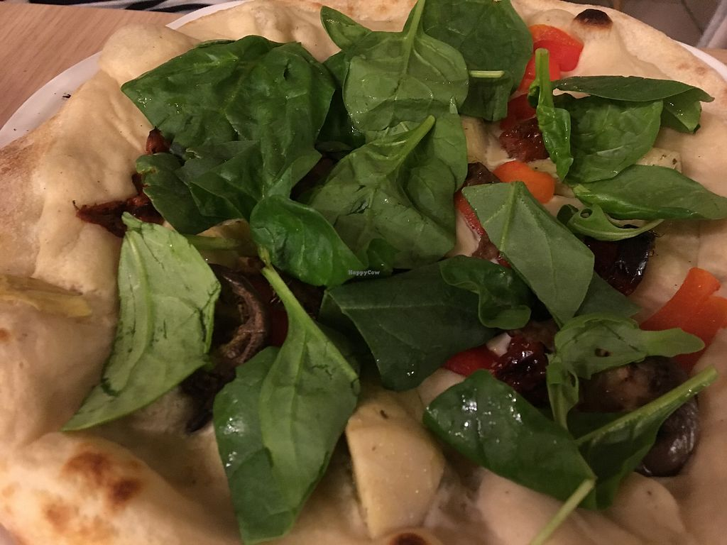 "Photo of Vegan Express  by <a href=""/members/profile/Vegangypsy"">Vegangypsy</a> <br/>Pizza with artichoke and spinach <br/> September 18, 2017  - <a href='/contact/abuse/image/82619/305639'>Report</a>"