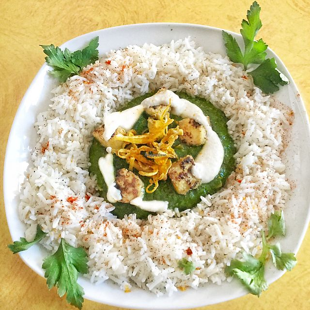 """Photo of Cafe Vert  by <a href=""""/members/profile/Teaffanys"""">Teaffanys</a> <br/>palak tofu coked in a plancha, cardamom rice, cashew cream & deshydrated curry onions <br/> June 20, 2017  - <a href='/contact/abuse/image/82634/271517'>Report</a>"""