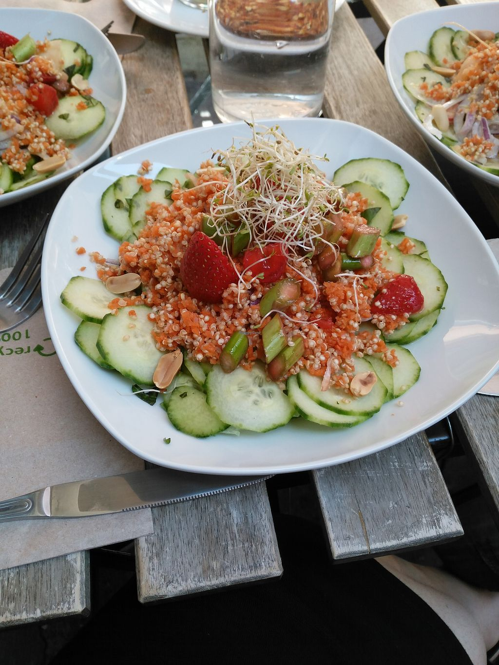 """Photo of Cafe Vert  by <a href=""""/members/profile/AudreyA"""">AudreyA</a> <br/>Summer brunch with courgettes, carrots, peanuts, strawberries <br/> September 7, 2017  - <a href='/contact/abuse/image/82634/301718'>Report</a>"""