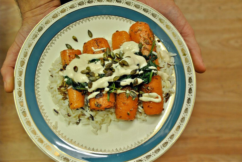 "Photo of Vegan People's Kitchen  by <a href=""/members/profile/mangojunkie"">mangojunkie</a> <br/>fennel-roasted carrots on wild rice and spinach - yum! <br/> March 4, 2018  - <a href='/contact/abuse/image/82643/366640'>Report</a>"