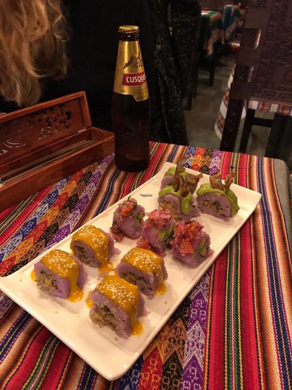 """Photo of Dimension Latina  by <a href=""""/members/profile/VictoriaForget"""">VictoriaForget</a> <br/>Vegan causushis (peruvian sushis) <br/> November 23, 2016  - <a href='/contact/abuse/image/82664/193612'>Report</a>"""