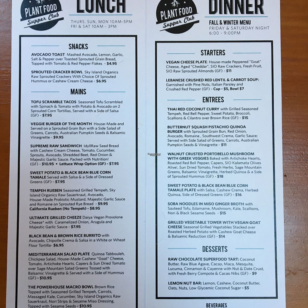 """Photo of Plant Food Supper Club  by <a href=""""/members/profile/MoeRoxxs"""">MoeRoxxs</a> <br/>lunch and dinner menus <br/> November 14, 2016  - <a href='/contact/abuse/image/82687/189833'>Report</a>"""