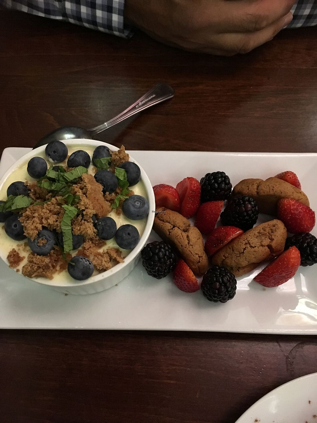 """Photo of Plant Food Supper Club  by <a href=""""/members/profile/RedheadedR"""">RedheadedR</a> <br/>Lemon custard with cookies and berries  <br/> September 17, 2017  - <a href='/contact/abuse/image/82687/305293'>Report</a>"""