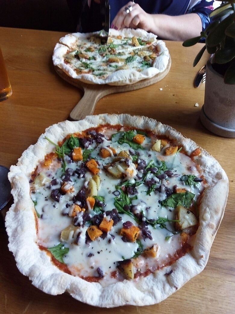 """Photo of The Stable  by <a href=""""/members/profile/ClaireKeeley"""">ClaireKeeley</a> <br/>vegan v dairy cheese pizzas <br/> June 22, 2017  - <a href='/contact/abuse/image/82691/272300'>Report</a>"""