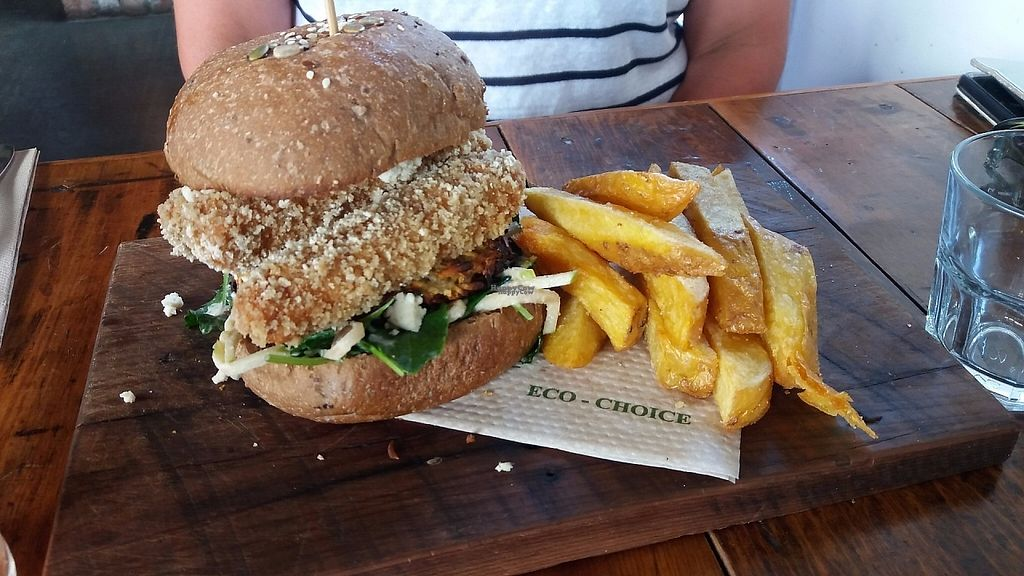 """Photo of Punnet Cafe  by <a href=""""/members/profile/Diz%20Parker"""">Diz Parker</a> <br/>Herb and tempeh burger with chips - amazing <br/> January 11, 2017  - <a href='/contact/abuse/image/82709/210621'>Report</a>"""