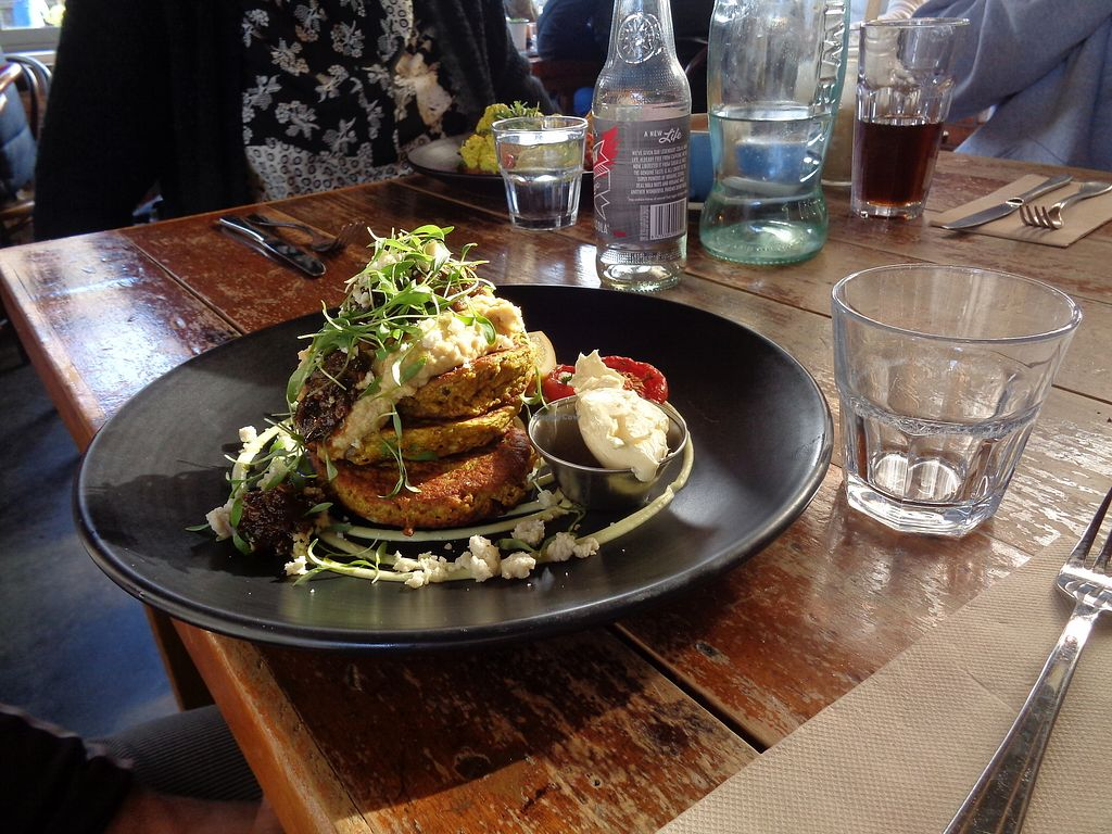 """Photo of Punnet Cafe  by <a href=""""/members/profile/citizenInsane"""">citizenInsane</a> <br/>cauliflower & chickpea fritters <br/> July 16, 2017  - <a href='/contact/abuse/image/82709/280853'>Report</a>"""