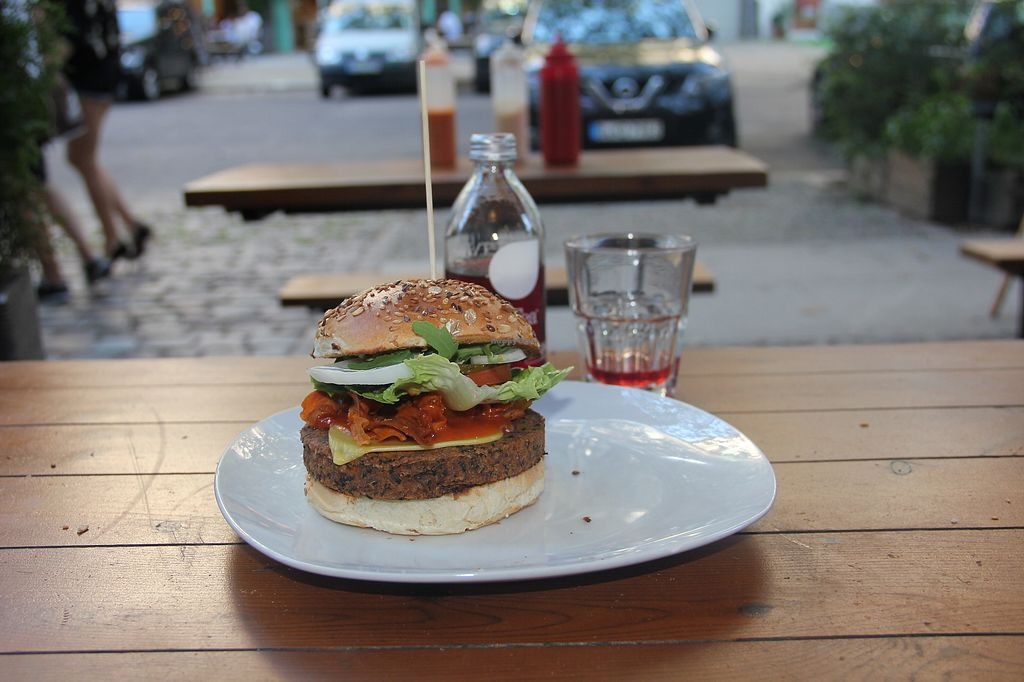 """Photo of Lia's Kitchen  by <a href=""""/members/profile/ZdeNka"""">ZdeNka</a> <br/>Chilli bean burger with vegan cheese <br/> November 23, 2017  - <a href='/contact/abuse/image/82729/328568'>Report</a>"""
