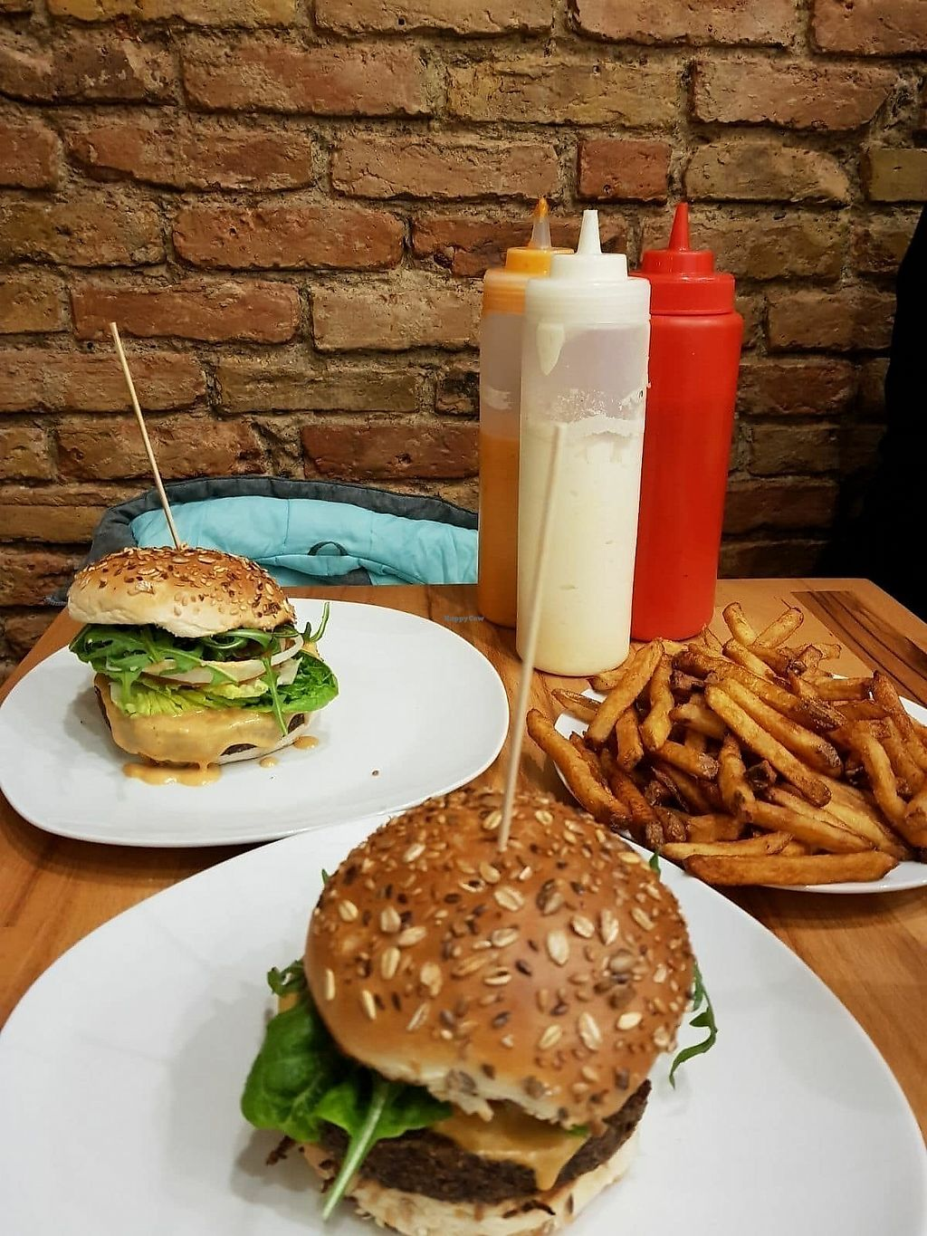 """Photo of Lia's Kitchen  by <a href=""""/members/profile/vegan.goddammit"""">vegan.goddammit</a> <br/>Quinoa-lentils burgers and fries <br/> March 12, 2018  - <a href='/contact/abuse/image/82729/369810'>Report</a>"""