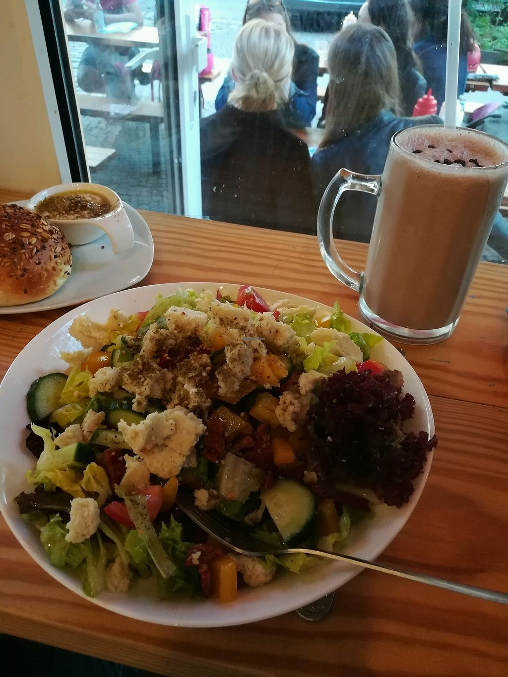 """Photo of Lia's Kitchen  by <a href=""""/members/profile/Tobias94"""">Tobias94</a> <br/>Greek salad (skipped the olives) with chocolate soy milk shake <br/> March 13, 2018  - <a href='/contact/abuse/image/82729/369975'>Report</a>"""