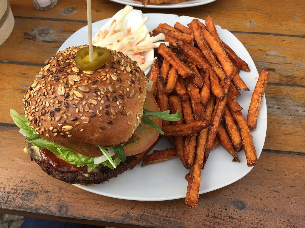 """Photo of Lia's Kitchen  by <a href=""""/members/profile/Christi"""">Christi</a> <br/>Mushroom burger with sweet potato fries  <br/> April 6, 2018  - <a href='/contact/abuse/image/82729/381515'>Report</a>"""