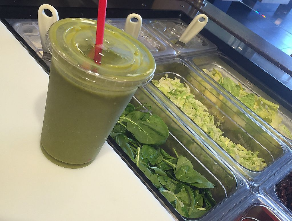 """Photo of Pita Pit  by <a href=""""/members/profile/SarahPitaPit"""">SarahPitaPit</a> <br/>Green smoothie!  Add spinach to any smoothie, vegan friendly - don't add yogurt <br/> November 15, 2016  - <a href='/contact/abuse/image/82744/229160'>Report</a>"""