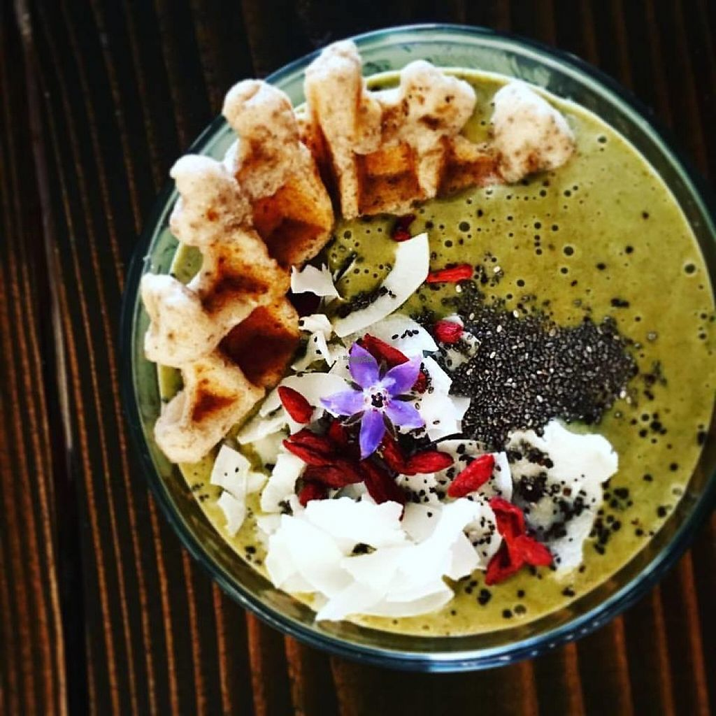 """Photo of The Hunter's Wife Health Bar  by <a href=""""/members/profile/TandiCanterburyRolen"""">TandiCanterburyRolen</a> <br/>Mystic Matcha smoothie with allergy free waffle, topped with chia seeds, coconut, goji berries and edible flowers.  <br/> November 14, 2016  - <a href='/contact/abuse/image/82754/190180'>Report</a>"""