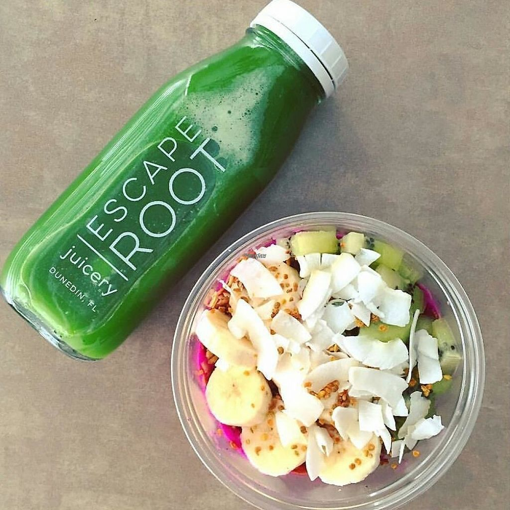 """Photo of Escape Root Juicery  by <a href=""""/members/profile/community"""">community</a> <br/>acai bowl and green juice  <br/> November 26, 2016  - <a href='/contact/abuse/image/82790/194876'>Report</a>"""