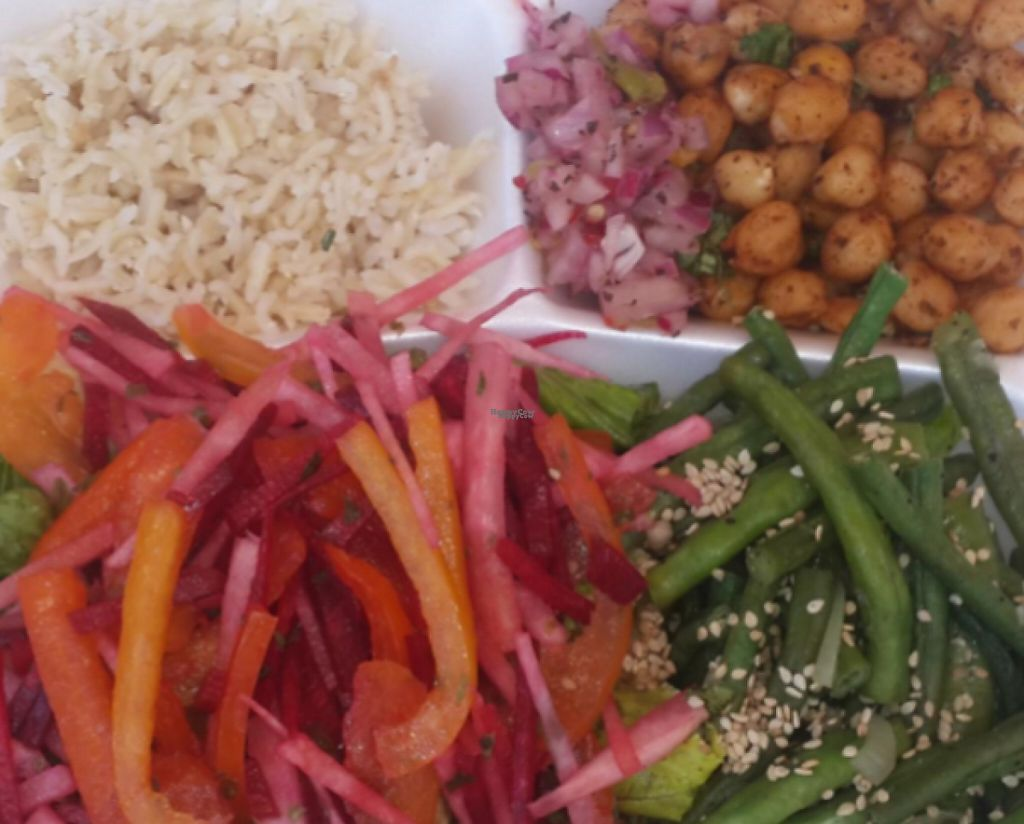 """Photo of Golden Delight  by <a href=""""/members/profile/community"""">community</a> <br/>Mixed Salad, Chickpeas, Raw Veggies with Brown Rice <br/> March 7, 2017  - <a href='/contact/abuse/image/82822/233698'>Report</a>"""