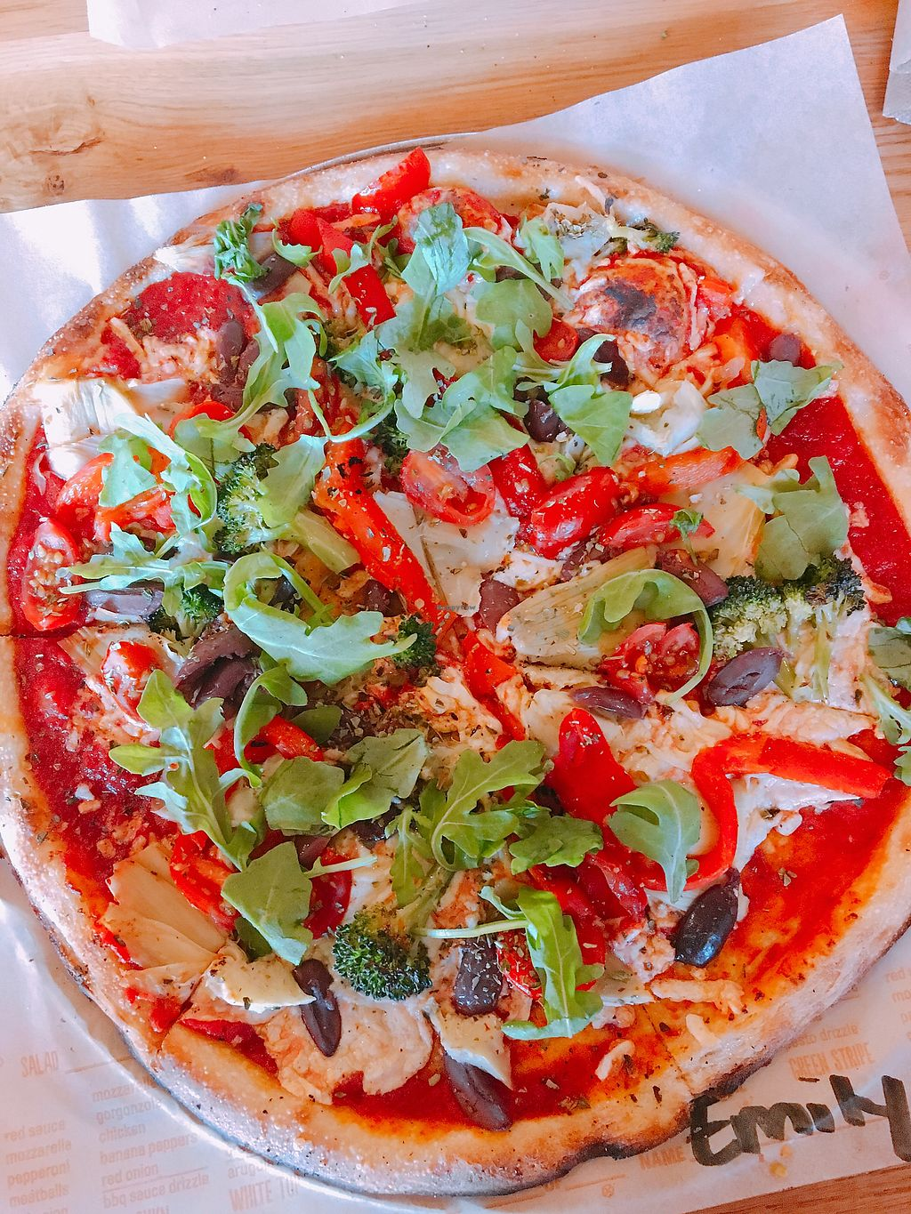 """Photo of Blaze Pizza  by <a href=""""/members/profile/EmilyWessel"""">EmilyWessel</a> <br/>Vegan Blaze Pizza that's customized by yourself; full of veggies, soy cheese, and vegan crust <br/> January 6, 2018  - <a href='/contact/abuse/image/82823/343611'>Report</a>"""
