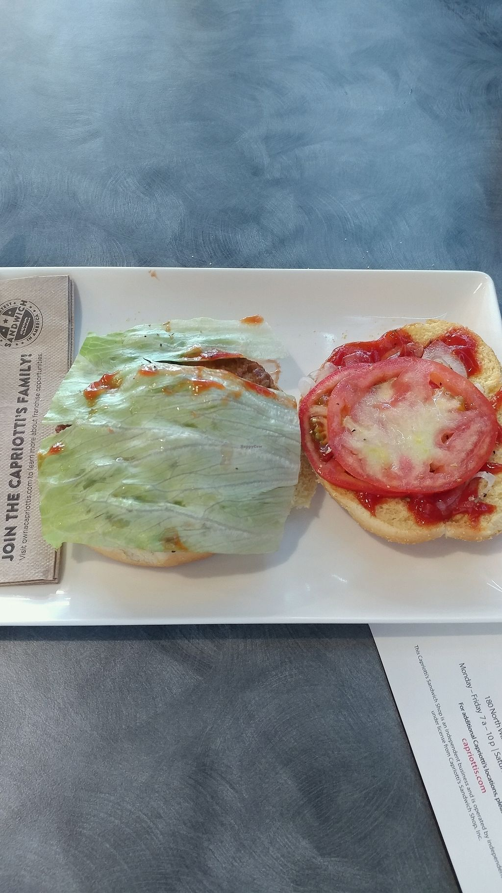 """Photo of Capriotti's Sandwich Shop  by <a href=""""/members/profile/mster9ball1"""">mster9ball1</a> <br/>veggie burger with all the fixings <br/> September 18, 2017  - <a href='/contact/abuse/image/82834/305813'>Report</a>"""