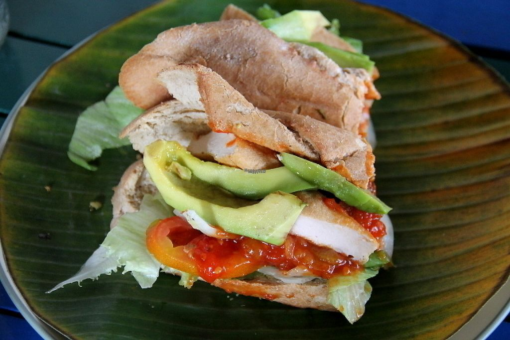 """Photo of Bale Sampan  by <a href=""""/members/profile/reissausta%20ja%20ruokaa"""">reissausta ja ruokaa</a> <br/>Baguette with bean """"falafel"""", tomato chutney and extra avocado.  <br/> November 23, 2016  - <a href='/contact/abuse/image/82873/193555'>Report</a>"""