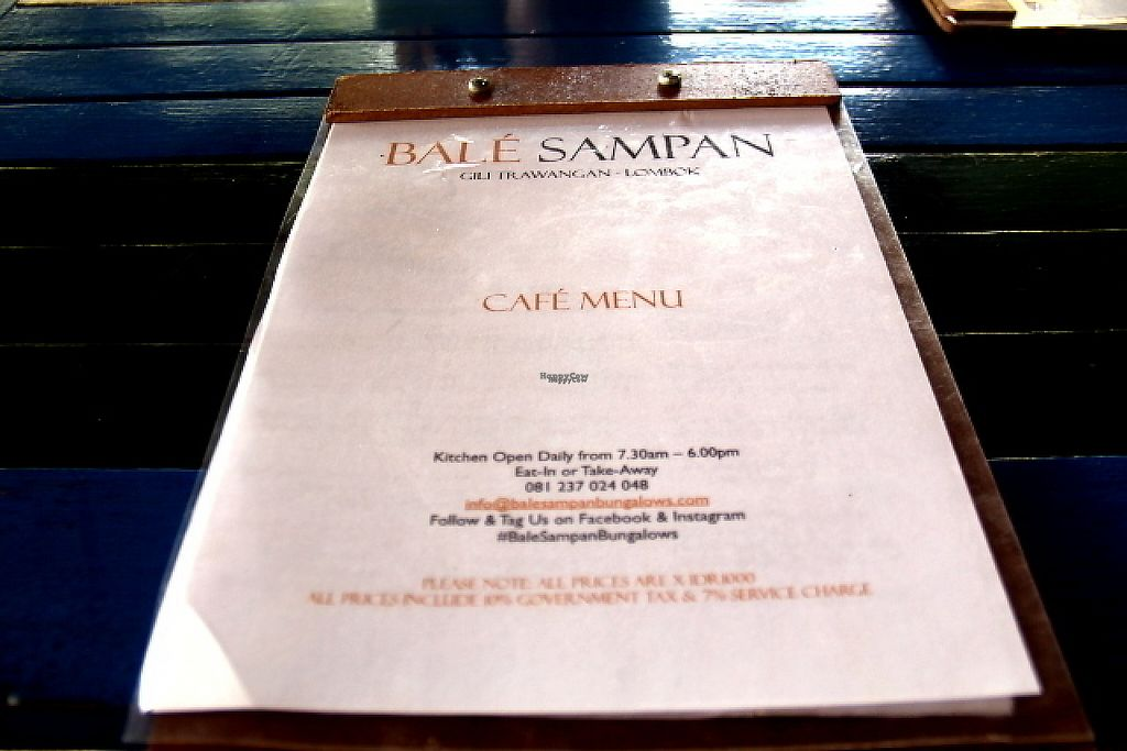 """Photo of Bale Sampan  by <a href=""""/members/profile/reissausta%20ja%20ruokaa"""">reissausta ja ruokaa</a> <br/>Bale Sampan menu has clearly marked vegan and vegetarian items in the menu.  <br/> November 23, 2016  - <a href='/contact/abuse/image/82873/193556'>Report</a>"""