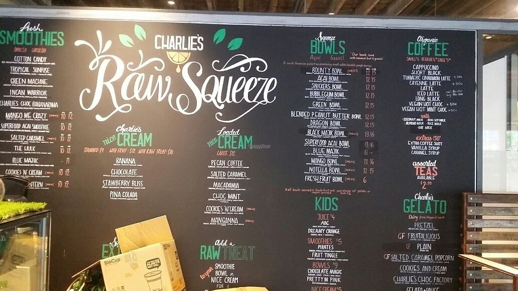 """Photo of Raw Squeeze at Lorna Jane  by <a href=""""/members/profile/Mike%20Munsie"""">Mike Munsie</a> <br/>wall menu <br/> April 21, 2017  - <a href='/contact/abuse/image/82911/250425'>Report</a>"""