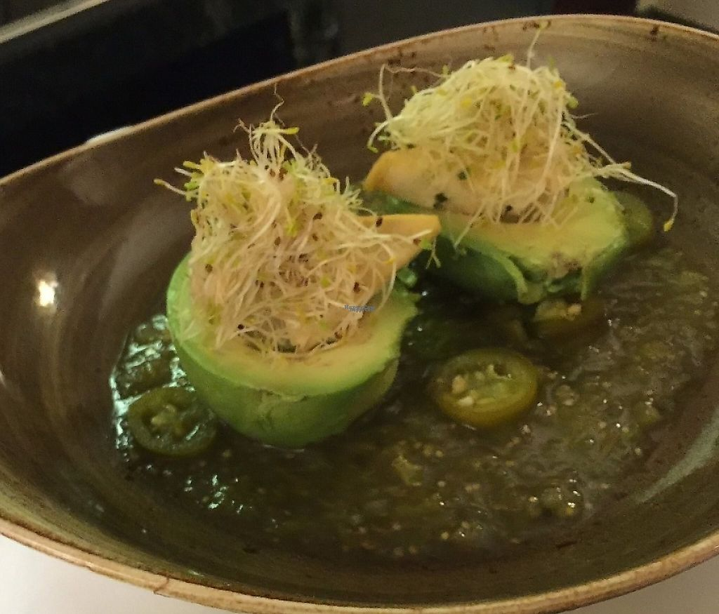 """Photo of Cherie Inn  by <a href=""""/members/profile/BeccaBochenek"""">BeccaBochenek</a> <br/>Avocado Benedict-A whole avocado on tomatillo salsa with herb tofu, sprouts and jalapeno.  <br/> December 5, 2016  - <a href='/contact/abuse/image/82940/204483'>Report</a>"""