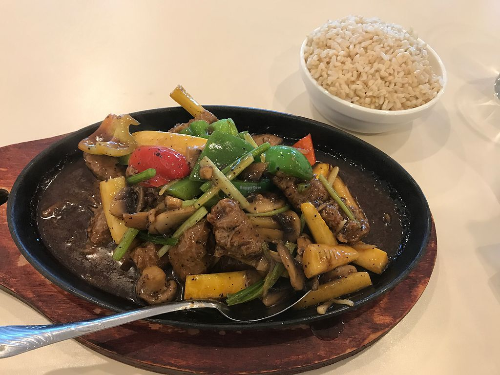 """Photo of VeGreen  by <a href=""""/members/profile/TheTree"""">TheTree</a> <br/>vegan pepper steak w/brown rice <br/> August 20, 2017  - <a href='/contact/abuse/image/82970/294577'>Report</a>"""