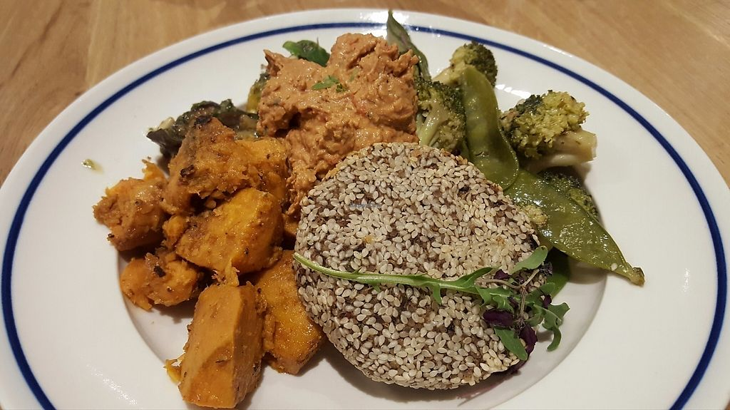 "Photo of Deliciously Ella - Weighhouse  by <a href=""/members/profile/VeganAnnaS"">VeganAnnaS</a> <br/>Black bean and quinoa burger, maple sweet potatoes, broccoli/mange tout and grilled veg with saurel pesto. Plus pepper hummus <br/> May 3, 2017  - <a href='/contact/abuse/image/82980/255131'>Report</a>"