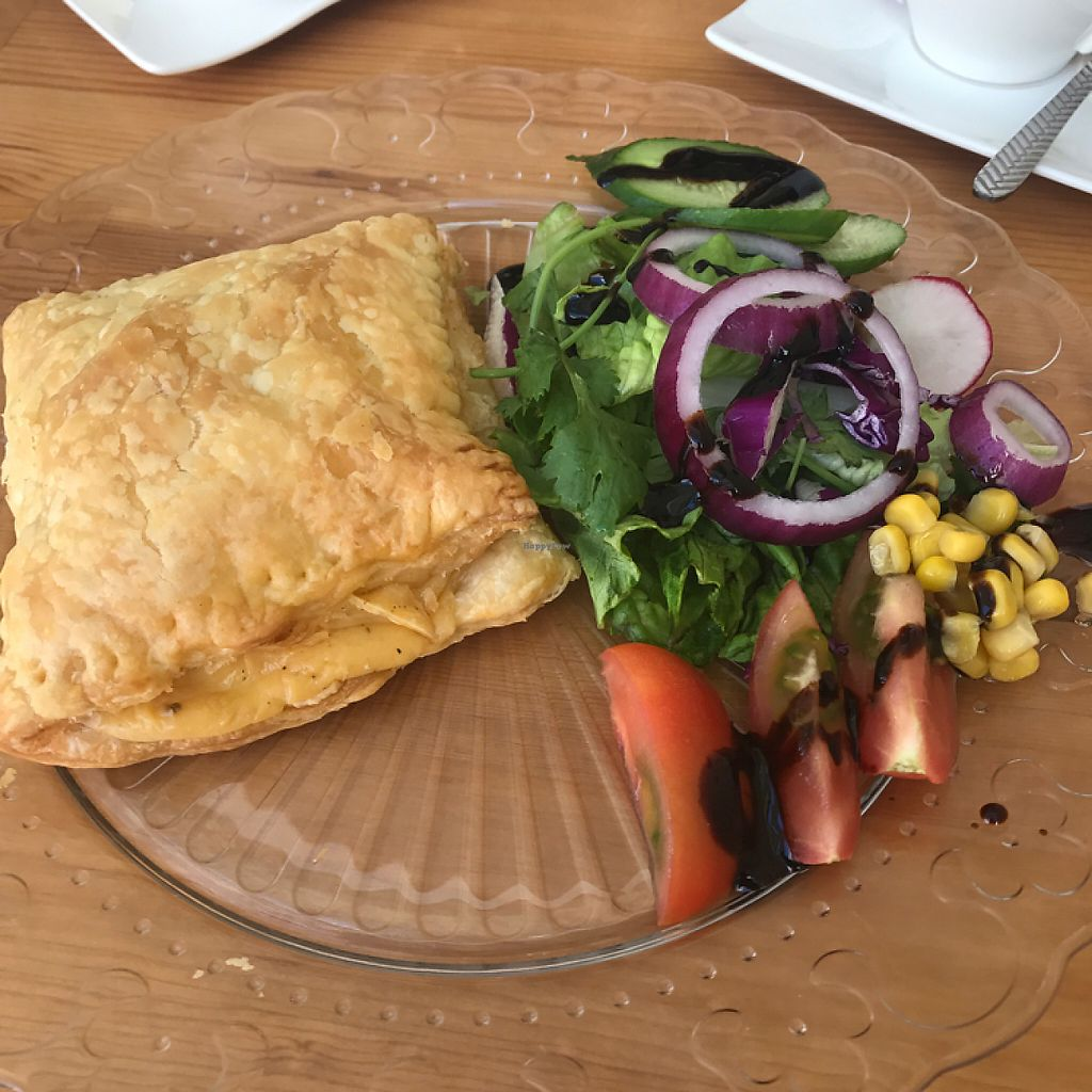 """Photo of Boo-Tea-Licious Tea Rooms  by <a href=""""/members/profile/SidSharpe"""">SidSharpe</a> <br/>cheese and onion vegan pasty <br/> May 12, 2017  - <a href='/contact/abuse/image/82982/258100'>Report</a>"""