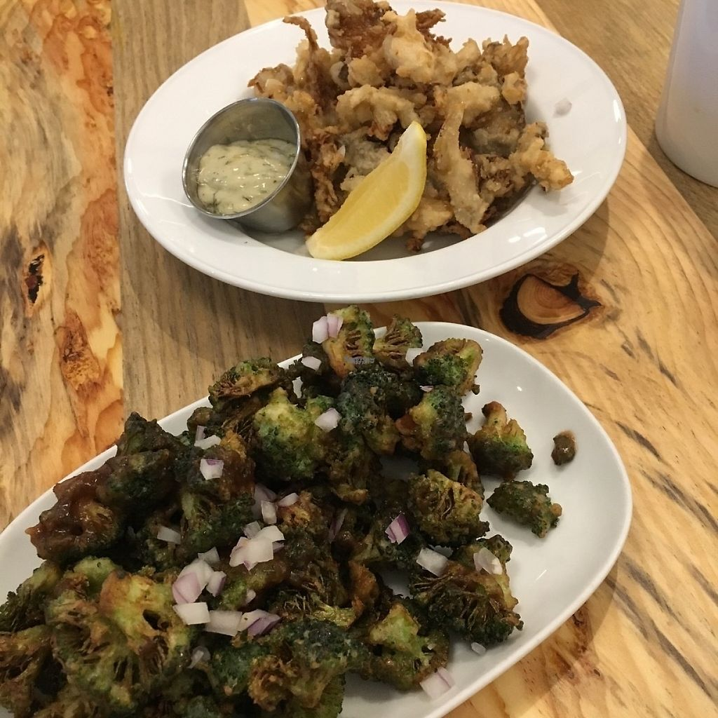 "Photo of The Arbor  by <a href=""/members/profile/vegan%20frog"">vegan frog</a> <br/>Fried oyster mushrooms and broccoli popcorn <br/> December 11, 2016  - <a href='/contact/abuse/image/83014/199204'>Report</a>"