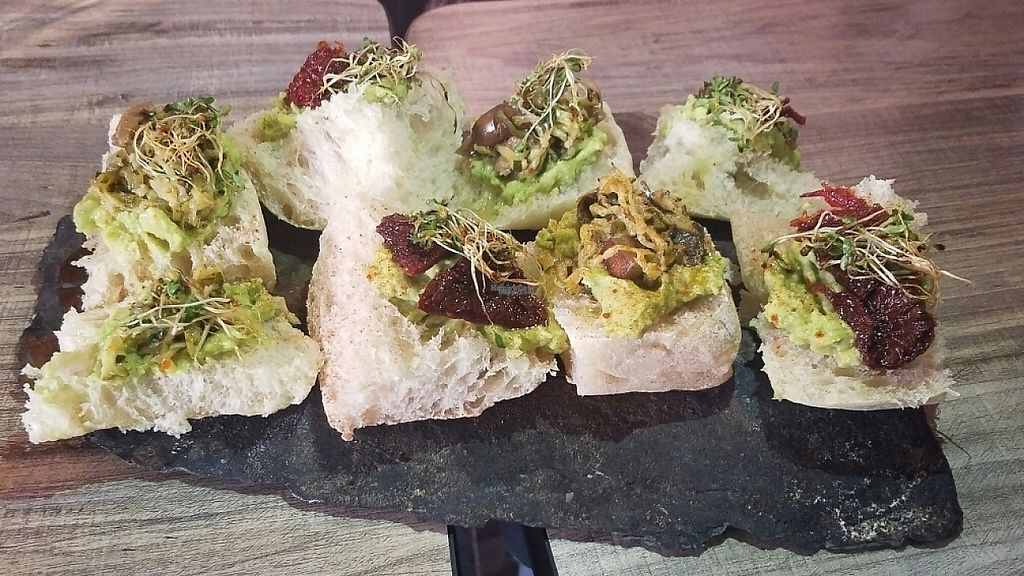"""Photo of Mestizo  by <a href=""""/members/profile/kenvegan"""">kenvegan</a> <br/>Quinoa Bread with toppings  (Plat du jour? <br/> January 12, 2017  - <a href='/contact/abuse/image/83068/211611'>Report</a>"""