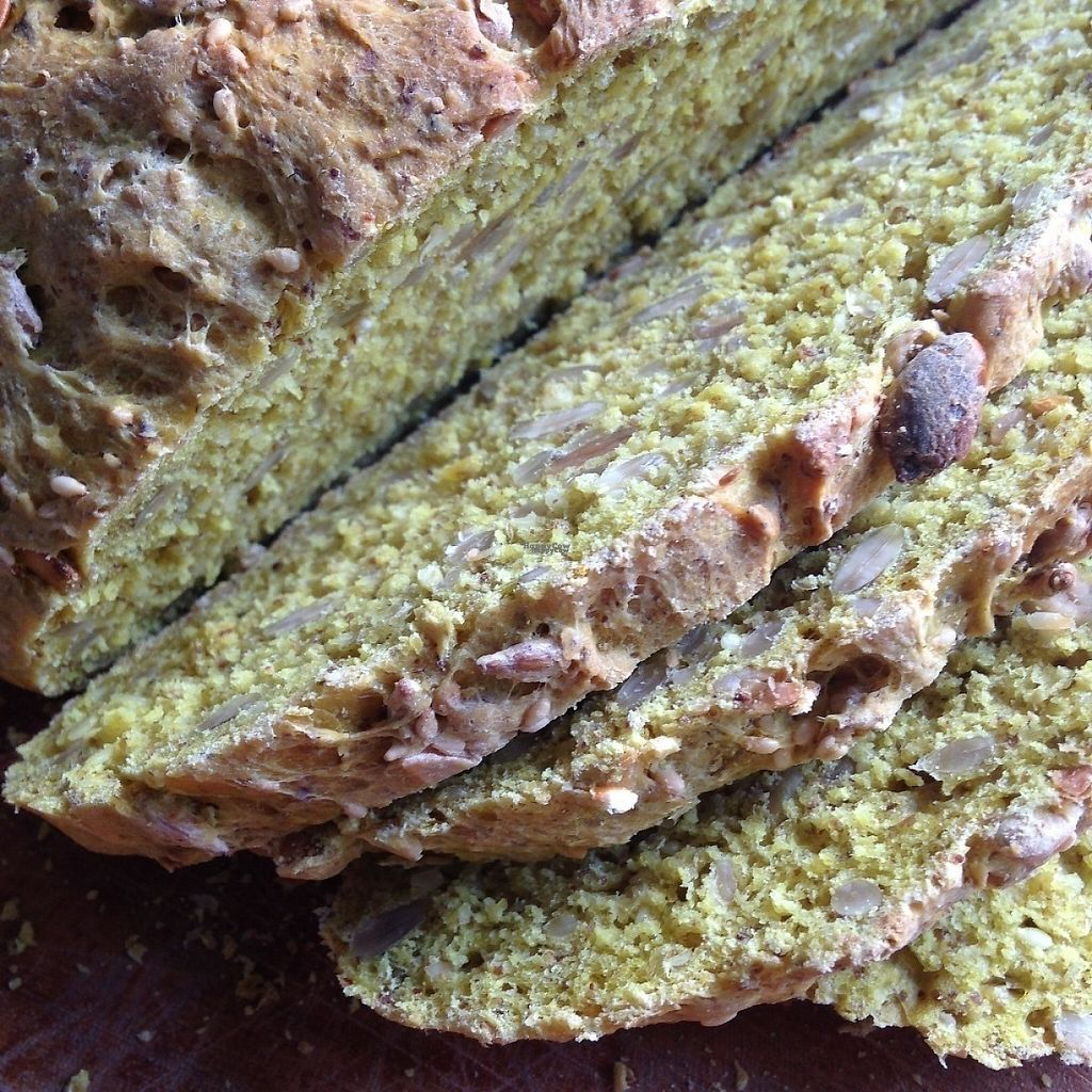 """Photo of Vegan Villa  by <a href=""""/members/profile/VeganMush"""">VeganMush</a> <br/>Homemade seedy bread with turmeric served with breakfast at Vegan Villa <br/> February 21, 2017  - <a href='/contact/abuse/image/83088/228636'>Report</a>"""