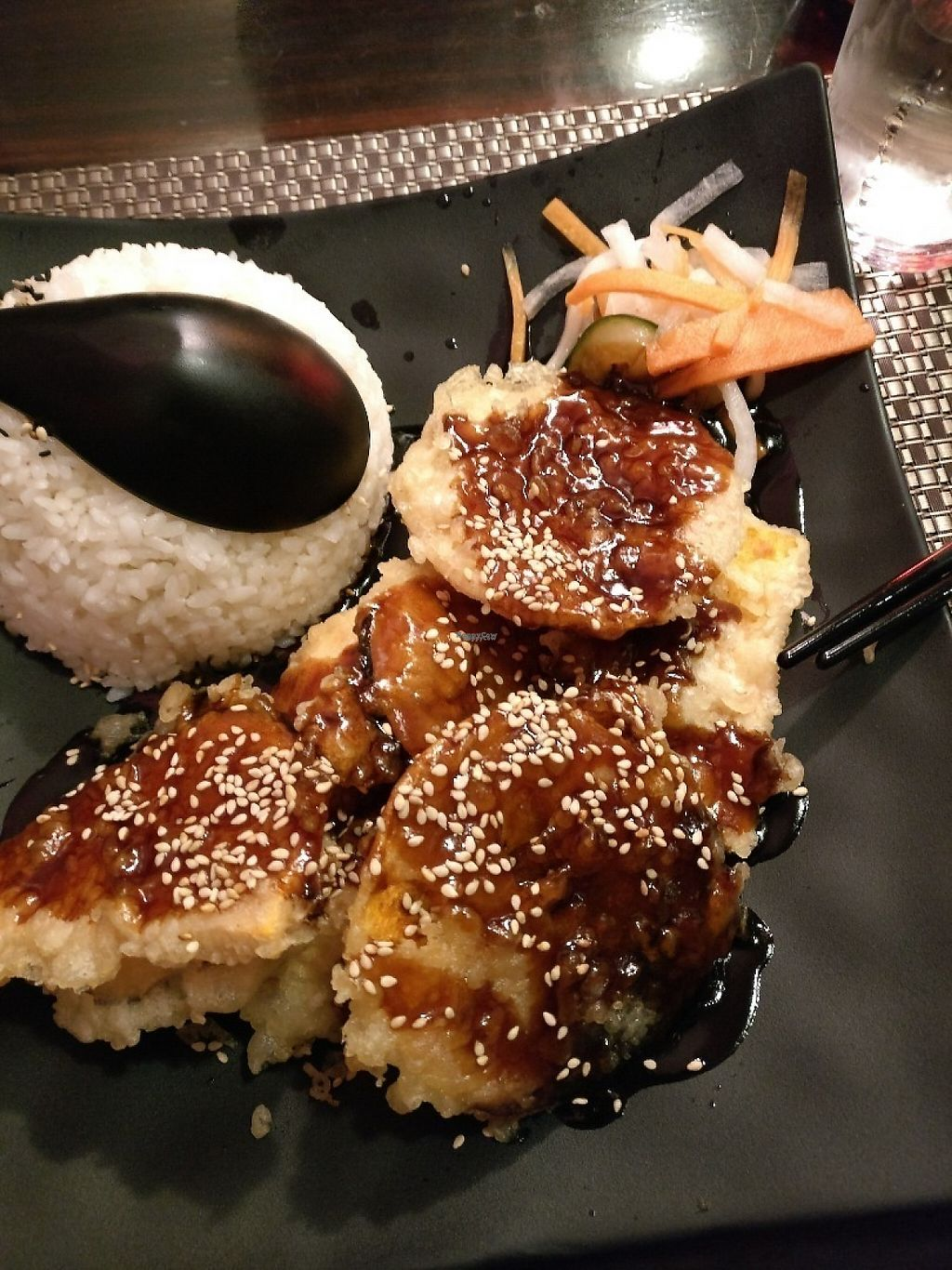 """Photo of Nippon Kitchen  by <a href=""""/members/profile/Agadooska"""">Agadooska</a> <br/>Veg tempura in teriyaki sauce, rice and sweet pickle; greasy but tasty :-) <br/> November 24, 2016  - <a href='/contact/abuse/image/83103/193906'>Report</a>"""